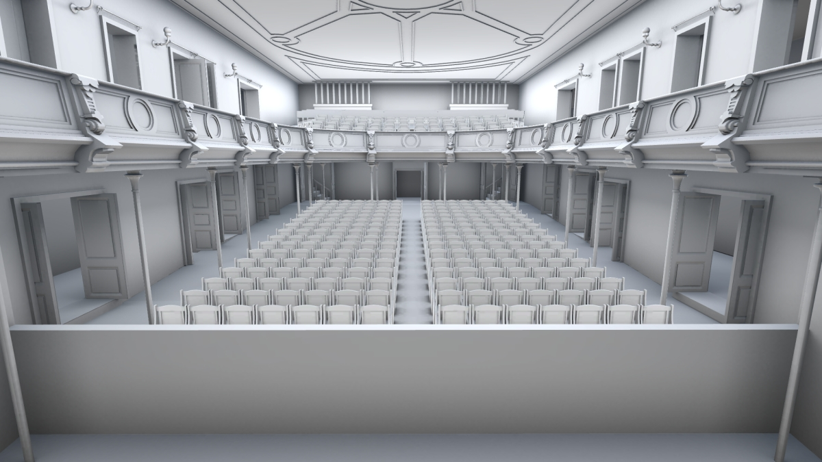 Bergen Theatre lower gallery with seating variation 2