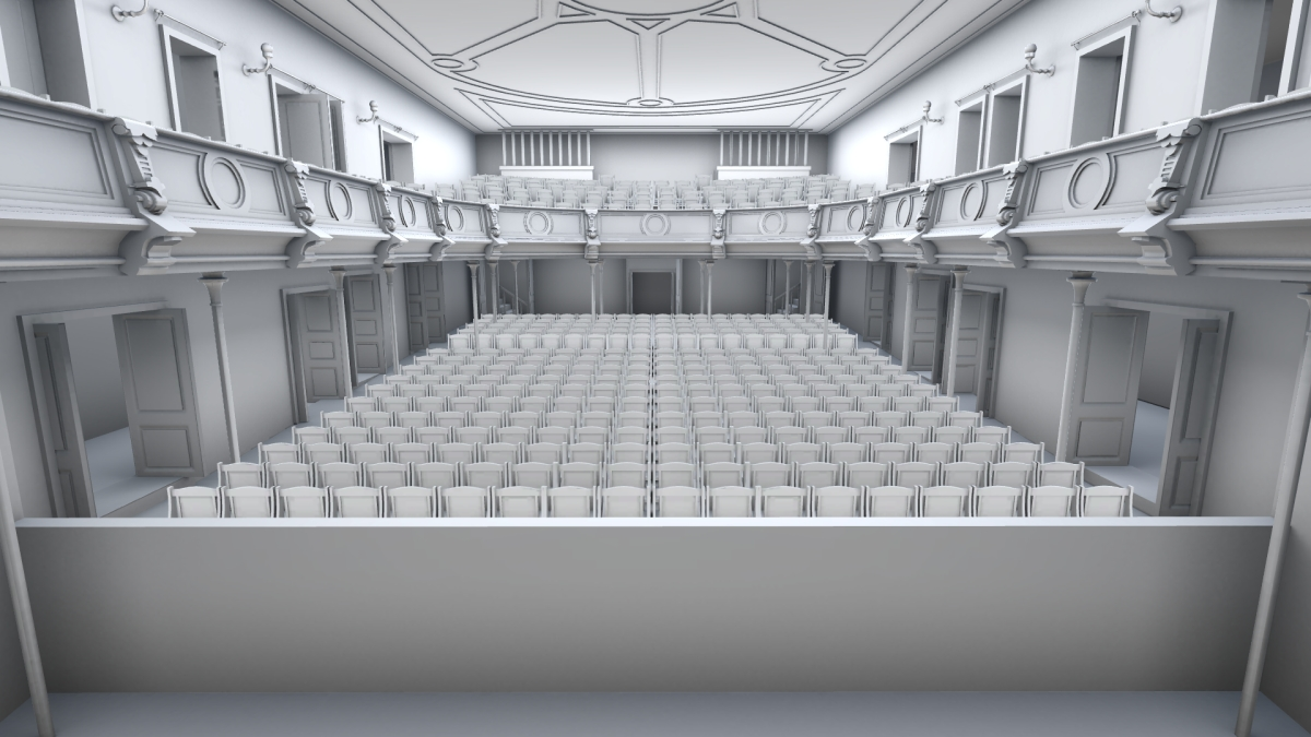 Bergen Theatre lower gallery with seating variation 1