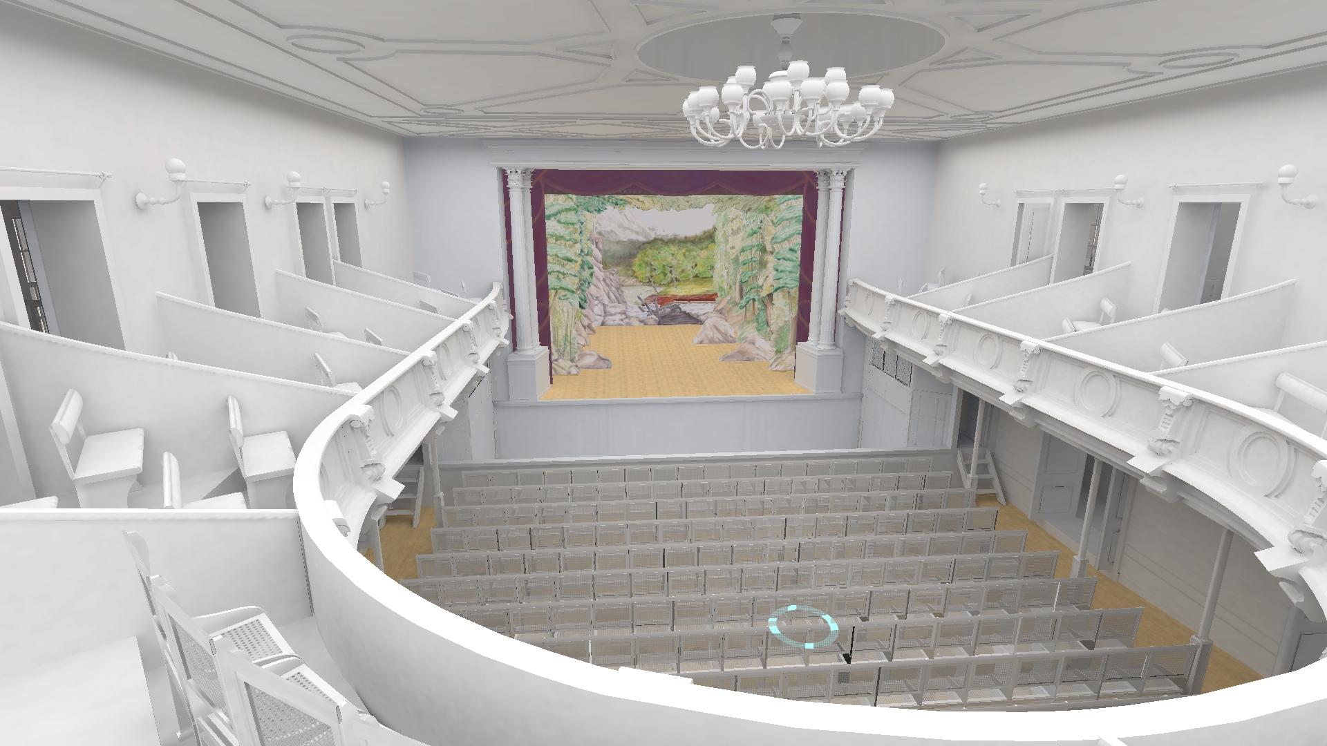 Bergen Theatre with installed scenic art